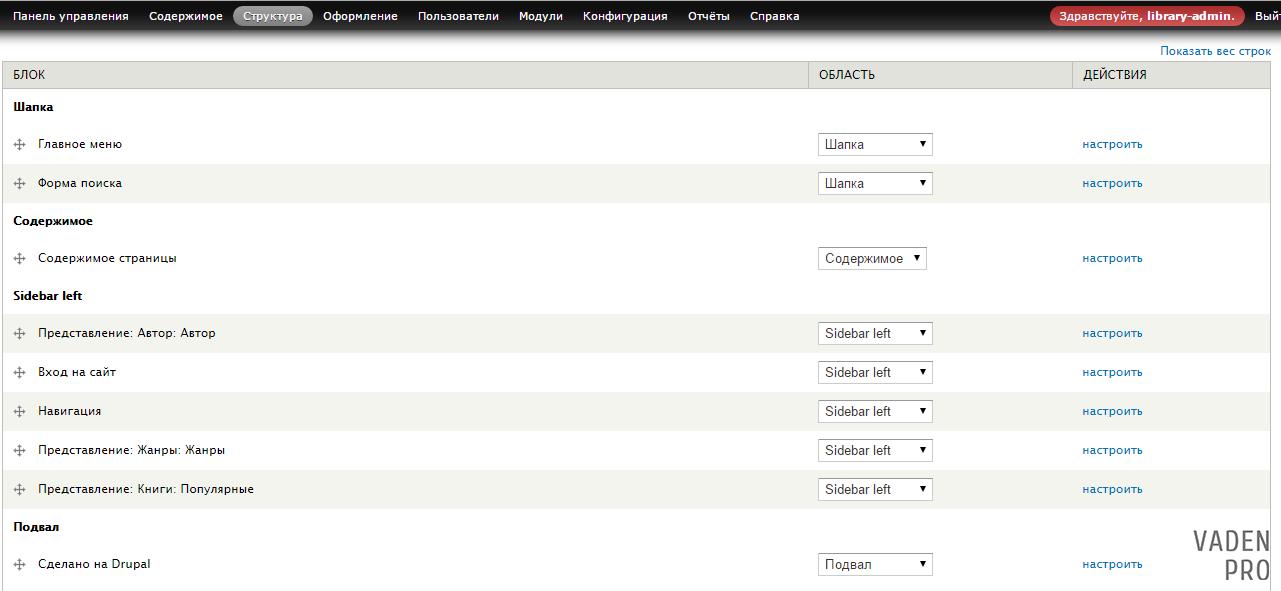 Drupal блоки сайта