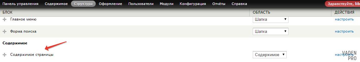 Drupal содержимое страницы