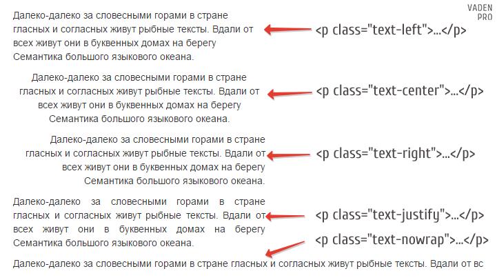 Bootstrap выравнивание текста