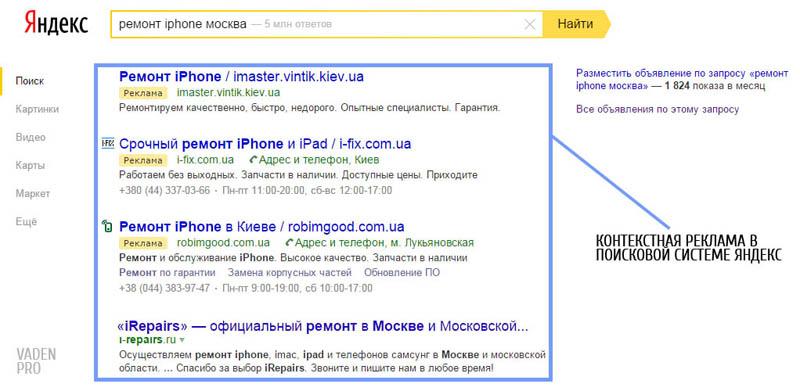 контекстная реклама в поисковой системе яндекс