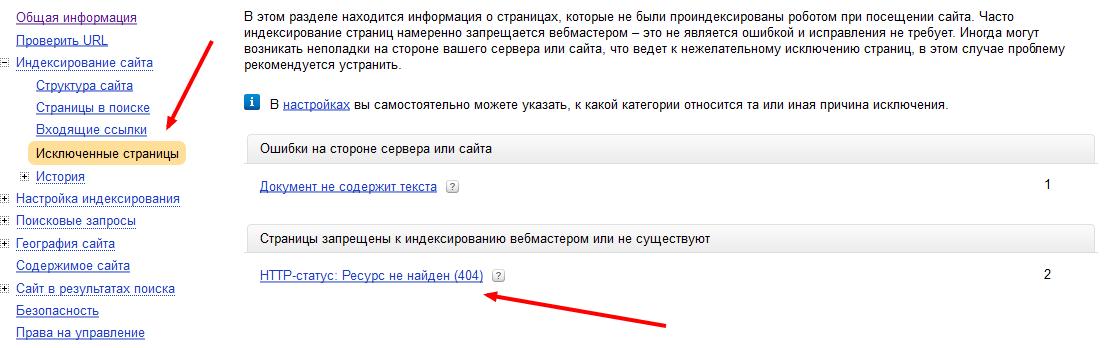 ошибка 404 в панели яндекс вебмастер