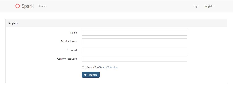 Spark user register