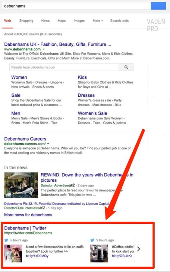 общий вид твита в поисковой выдаче гугл