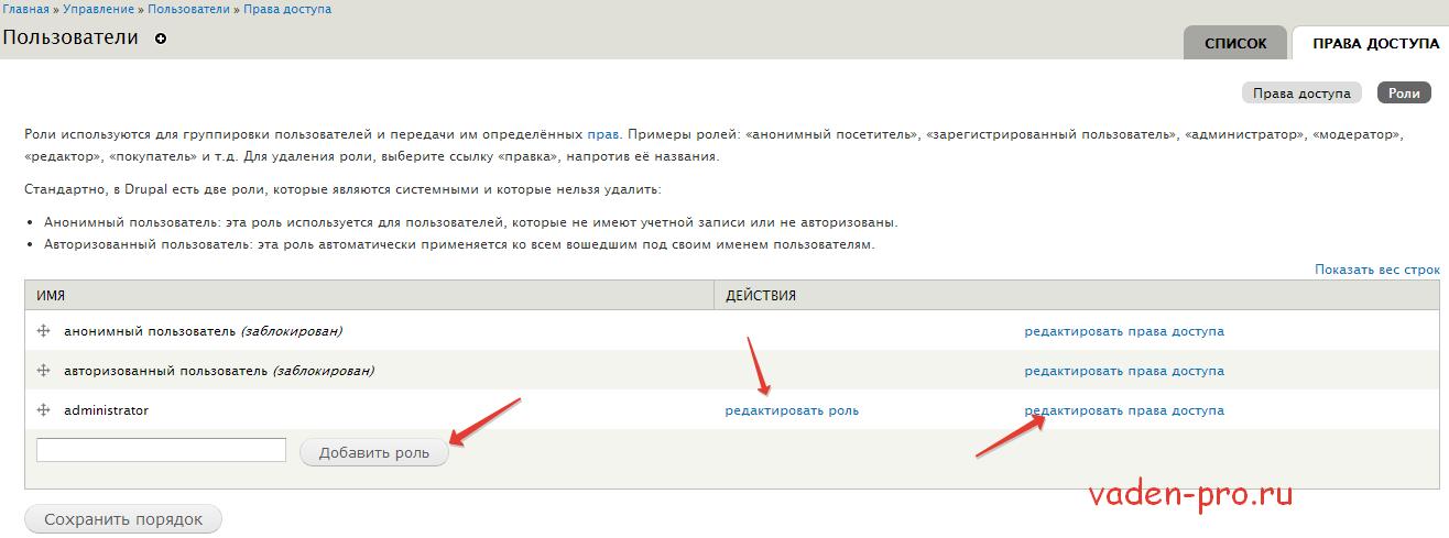 Роли пользователей Drupal